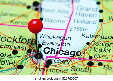 Chicago pinned on a map of Illinois, USA