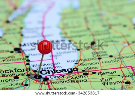 Chicago On The Map Of Usa.Chicago Pinned On Map Usa Stock Photo Edit Now 342853817