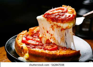 Chicago Pizza filled with cheese