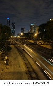 chicago rail yards at night