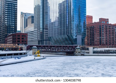Chicago River Frozen Over during a Polar Vortex and the Lake Street Bridge