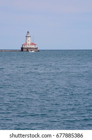 The Chicago River lighthouse marking the end of a break wall
