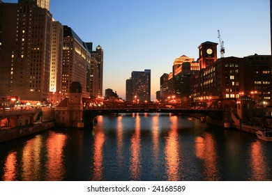 Chicago River at night looking west