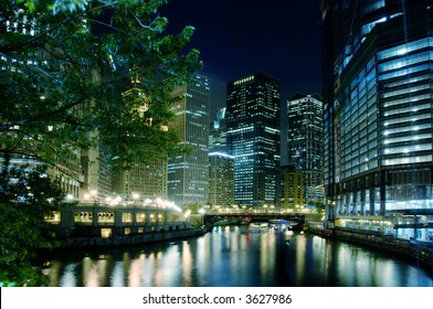 The Chicago River on a summer night.