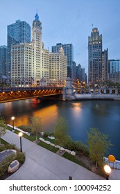 Chicago Riverside. Image of the Chicago riverside downtown district during sunset blue hour.