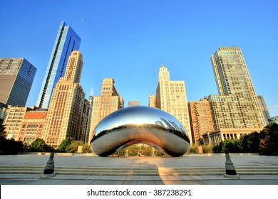 CHICAGO - September 3: Cloud Gate in Millennium Park on September 3, 2015 in Chicago. The Cloud Gate is a major tourist attraction and a gate to traditional Chicago Jazz Fest (September 3 - 6 2015).