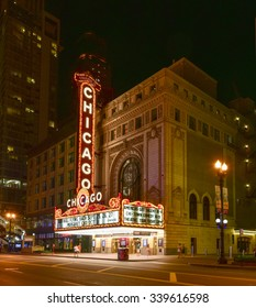 Chicago - September 6, 2015: The famous Chicago Theater on State Street in Chicago, Illinois. Opened in 1921, the theater was renovated in the 1980's at a cost of $4.3 million.