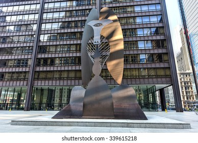 Chicago - September 6, 2015:  Untitled massive sculpture in a plaza in downtown Chicago by Picasso.