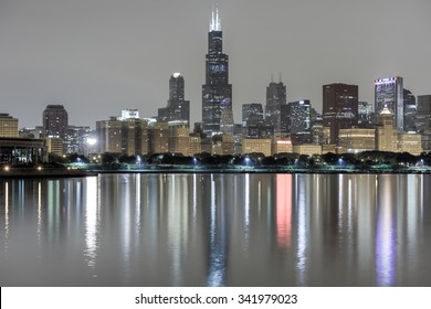 Chicago - September 7, 2015: View of the Chicago Skyline over Lake Michigan at night.