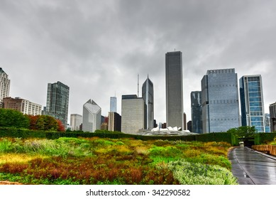 Chicago - September 8, 2015: Chicago Skyline View from Lurie Garden on a cloudy day.