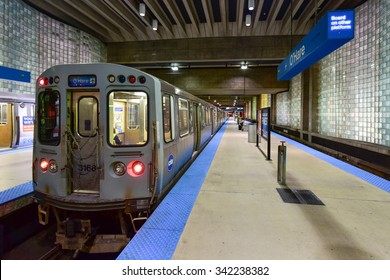 Chicago - September 8, 2015: Subway station leading into O'Hare Airport in Chicago.