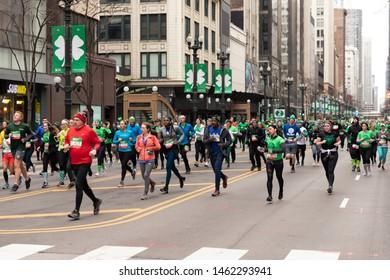 Chicago Shamrock Shuffle 8K run, March, 2019