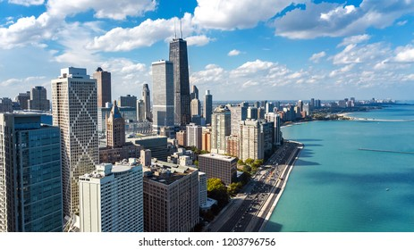 Chicago skyline aerial drone view from above, lake Michigan and city of Chicago downtown skyscrapers cityscape, Illinois, USA