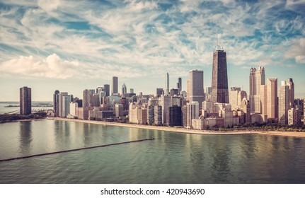 Chicago Skyline aerial skyscrapers view , vintage colors