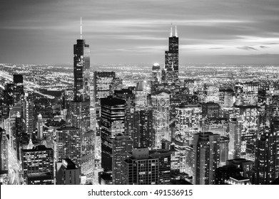 Chicago skyline - aerial view. Black and white tone - retro monochrome color style.