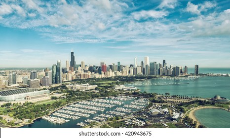 Chicago Skyline aerial view with marina and boats , vintage colors