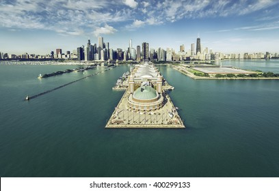 Chicago Skyline aerial view with Navy Pier, vintage colors