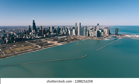 Chicago Skyline aerial view skyscrapers by the beach