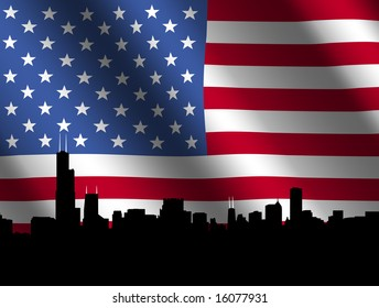 Chicago skyline against rippled American Flag illustration