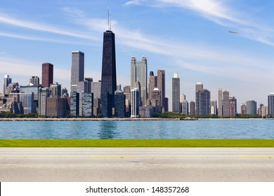 Chicago Skyline Alternative Side View With Road