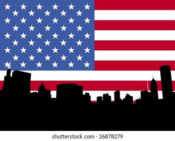 Chicago skyline and American flag illustration JPEG