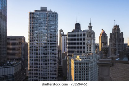 Chicago skyline. Chicago business downtown skyline at sunset