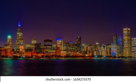 Chicago skyline by the Lake Michigan at night, Panoramic 16x9 Chicago IL, January 2019