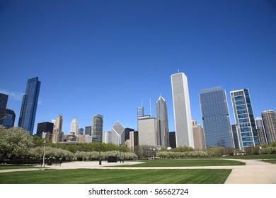 Chicago Skyline and city park