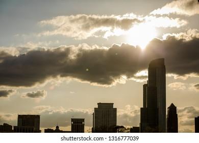 chicago skyline. Cloud sky