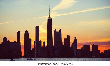 Chicago Skyline Dusk. The skyline of Chicago, Illinois at dusk.