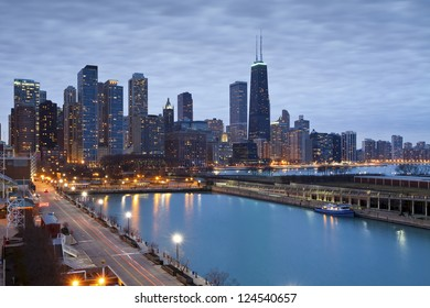 Chicago skyline. Image of Chicago downtown skyline at dusk.