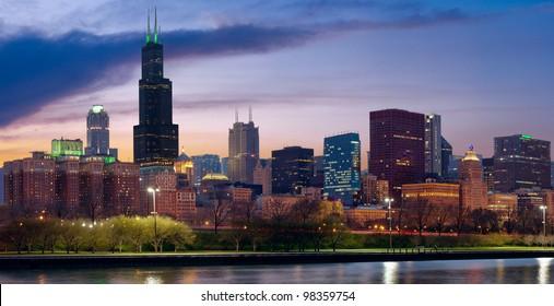 Chicago skyline. Image of Chicago skyline at twilight.
