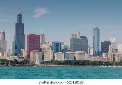 Chicago skyline including downtown and landmark buildings.  Looking across Lake Michigan
