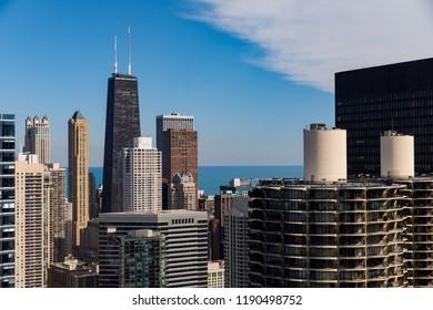 The Chicago skyline including the John Hancock Center is seen September 27, 2018.