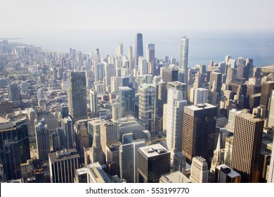 Chicago skyline and lake Michigan. An overhead view of the great city of Chicago downtown taken from the Willis (Sears) Tower. Horizontal composition.