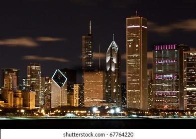 The Chicago skyline of a major city.