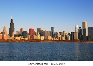 Chicago skyline in the morning.