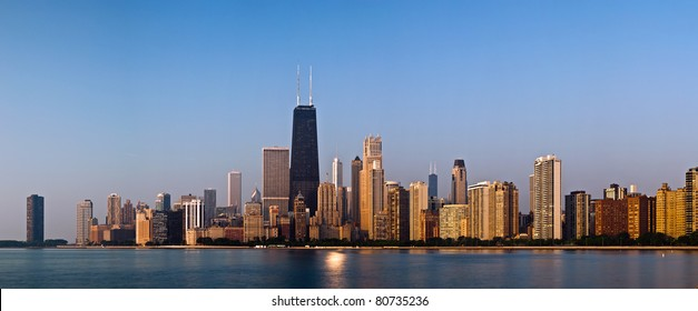 Chicago skyline in the morning light.