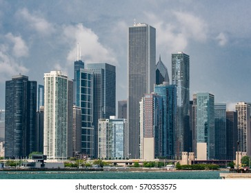 Chicago Skyline from Navy Pier on summer afternoon