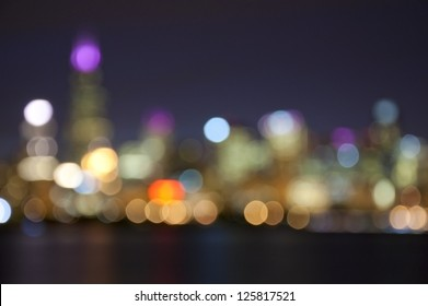 Chicago Skyline at Night- Blurred Photo bokeh