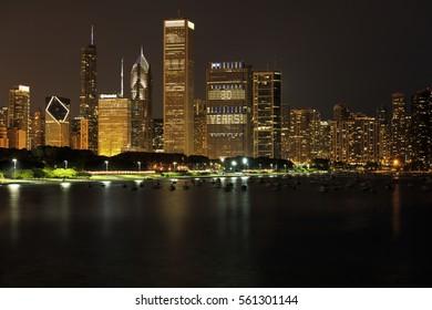 Chicago Skyline at Night over Lake Michigan