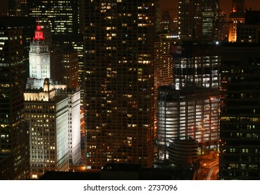 Chicago Skyline at Night, with Red Lights for Heart Month