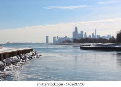 Chicago skyline over a frozen Lake Michigan