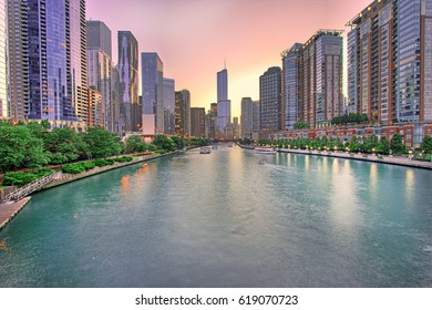 Chicago skyline panorama with Sunset over Chicago River, Chicago, USA