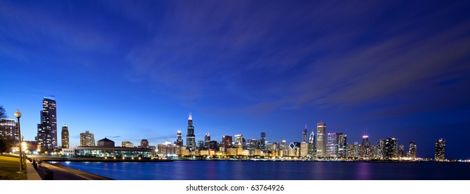 Chicago skyline panoramic at night
