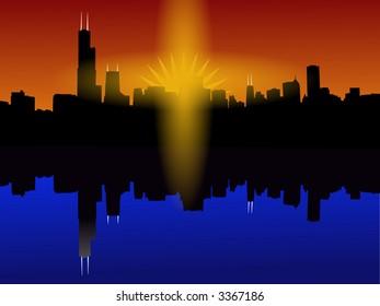 Chicago Skyline reflected at sunset illustration