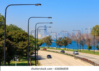 Chicago skyline seen from Lakeshore Drive in the South Side of Chicago, IL, USA.