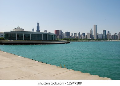 Chicago skyline, Shedd Aquarium is on the left side.