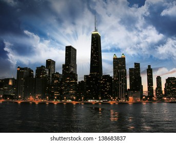 Chicago Skyline Silhouette at sunset.