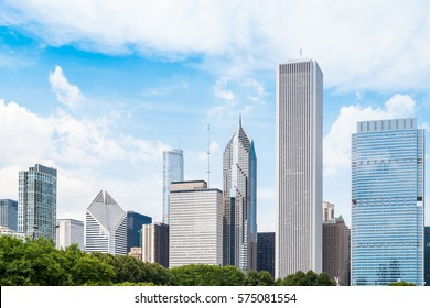 Chicago skyline with skyscrapers viewed, USA